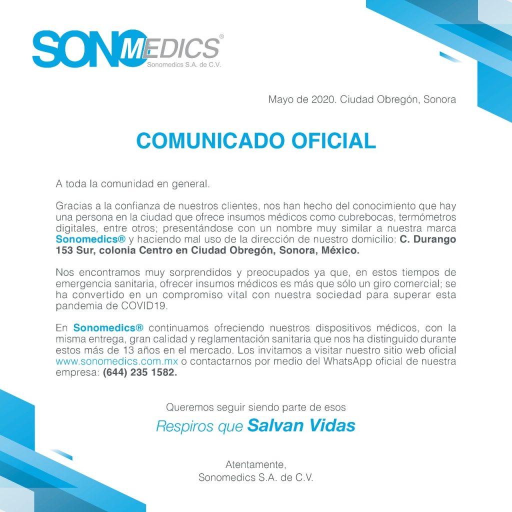 Comunicado Sonomedics